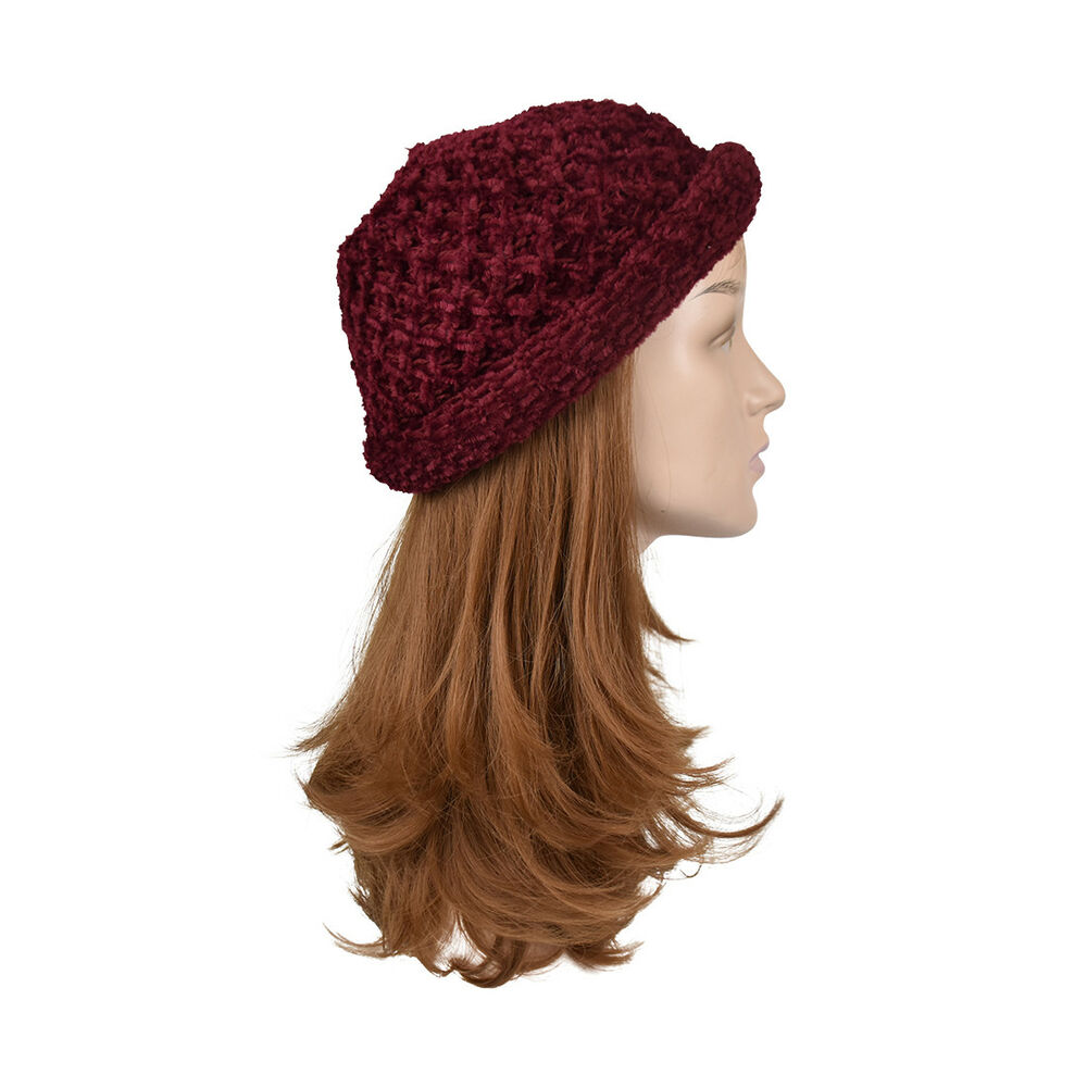 Details about Womens Pull On Chenille Hat Burgundy Beanie Warm Knit Red Winter  Hat 06e89f28663a
