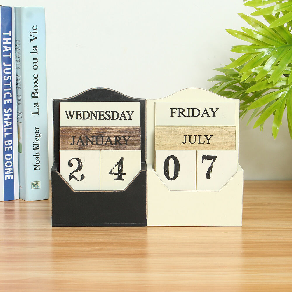 Calendar Blocks Diy : Rustic vintage wood block perpetual calendar wooden office