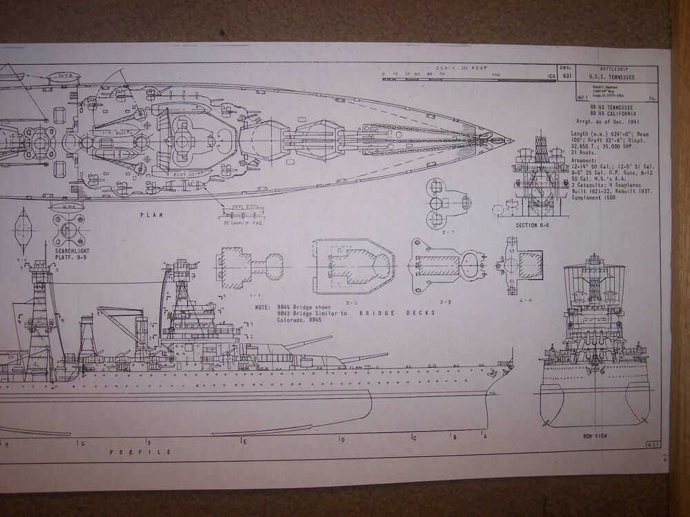 USS TENNESSEE BB43 ship boat model boat plans | eBay
