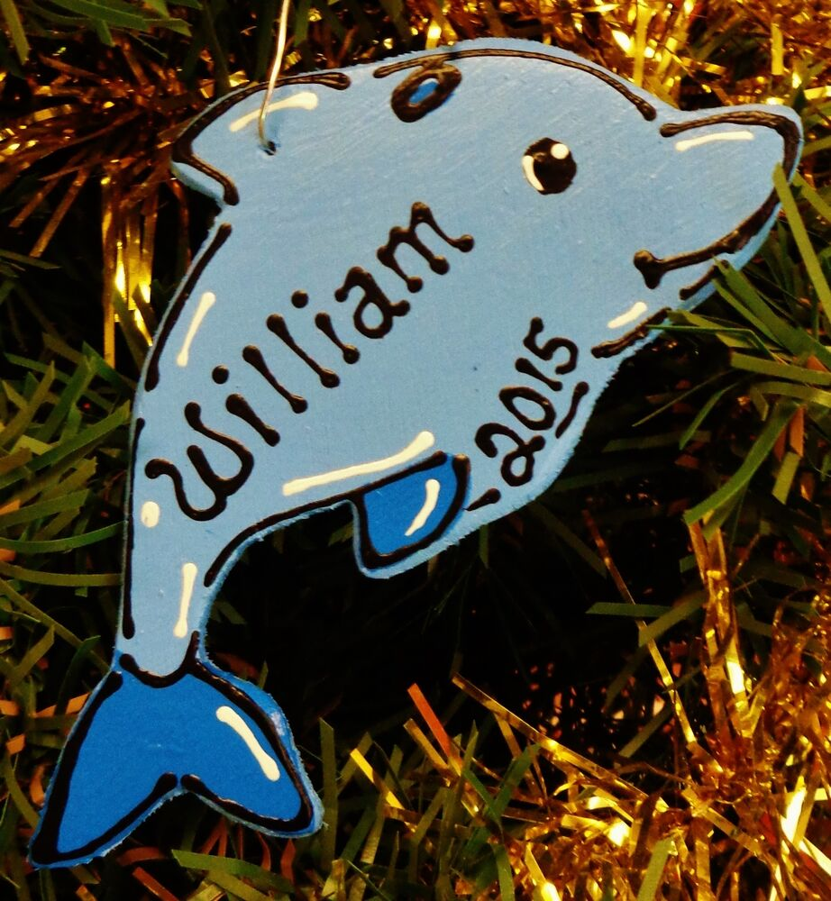 DOLPHIN Ornament U CHOOSE NAME & YEAR Personalized Christmas Holiday ...