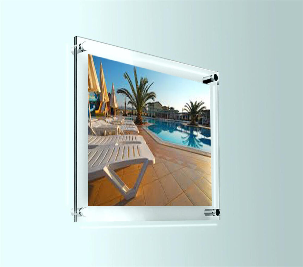 a4 acrylic wall mount poster holder picture frame photo display clear perspex ebay. Black Bedroom Furniture Sets. Home Design Ideas