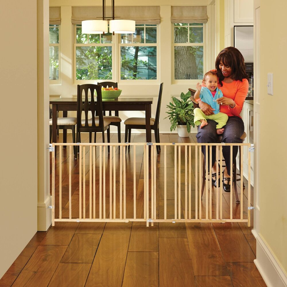 Baby Gate Expandable Hardware Mounted Wooden Child Safety