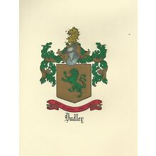 Great Coat of Arms Dudley Crest genealogy, would look great framed!