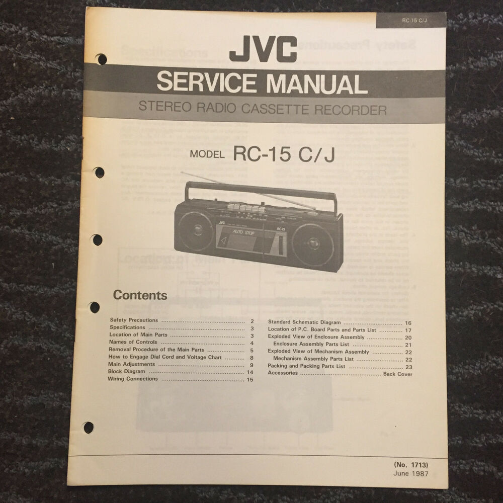 Original JVC Service Manual for RC Model Boomboxes Cassette Radio ~ Select  One   eBay