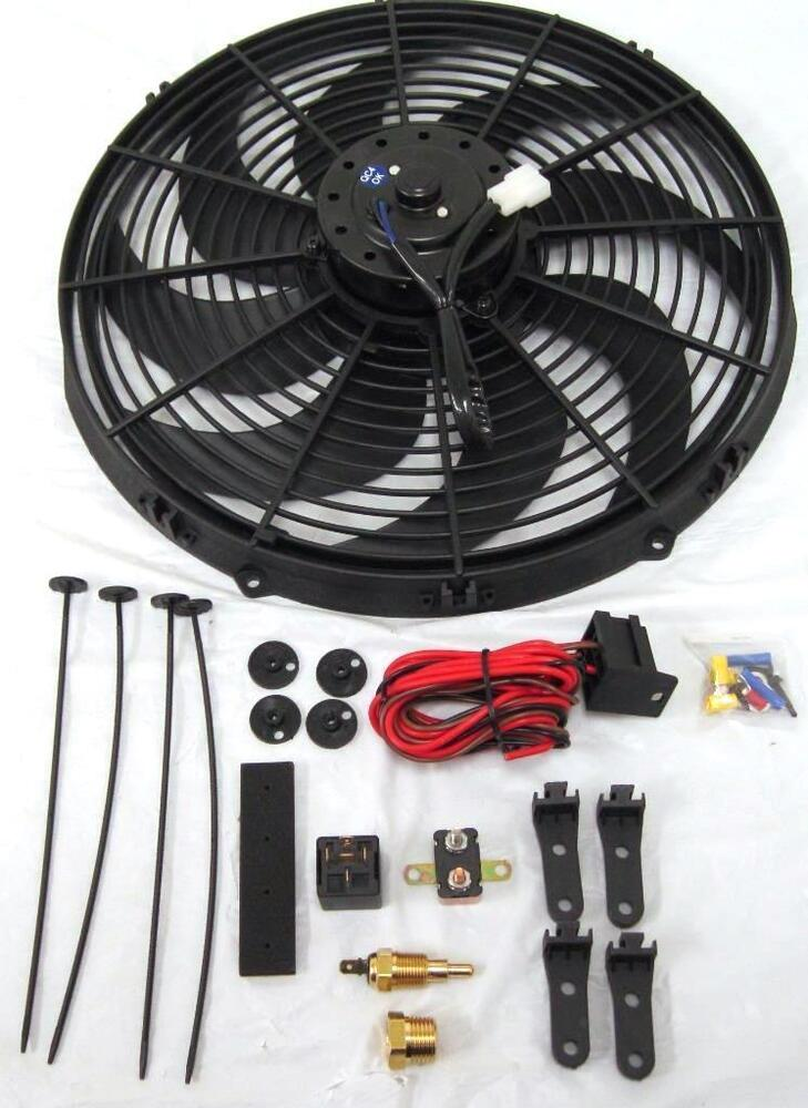 Details About 16 Inch Electric Radiator Fan High 3000 Cfm Thermostat Wiring Switch Relay Kit