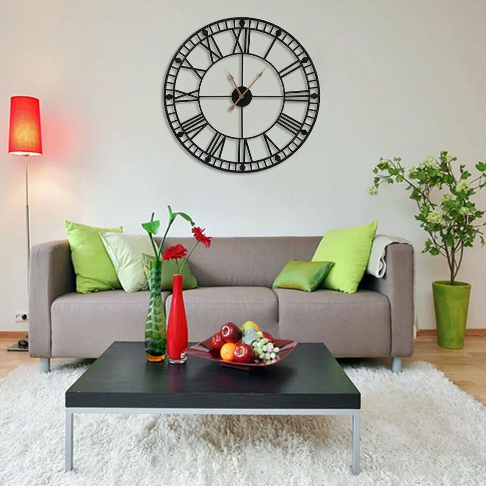 metall wanduhr numbers r mische zahlen gro e uhr vintage industrie design 60cm e ebay. Black Bedroom Furniture Sets. Home Design Ideas
