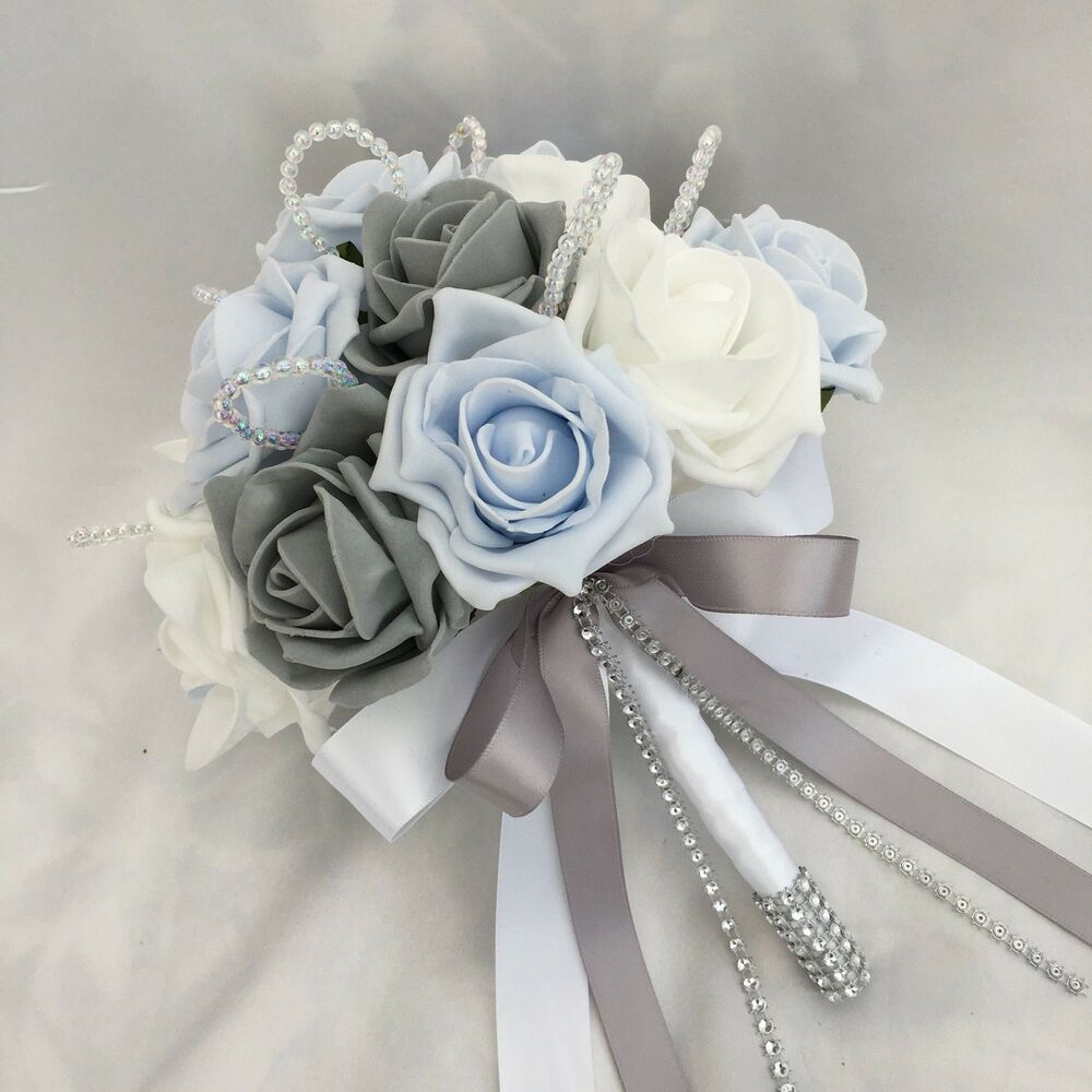 Real Vs Fake Flowers Wedding: POSY BOUQUET, BABY BLUE, WHITE & GREY ROSES, ARTIFICIAL
