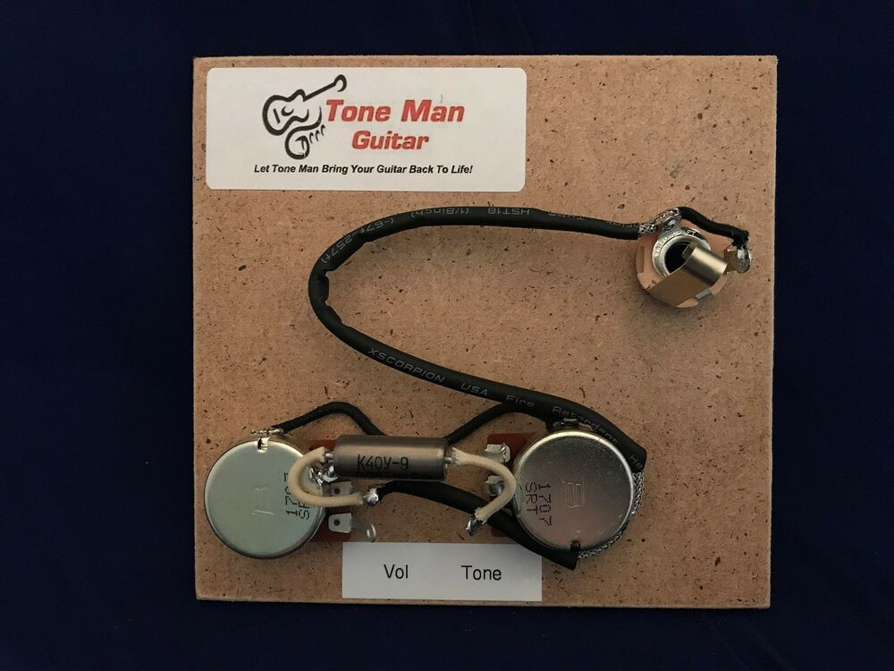 tone man guitar premium prewired wiring harness fits gibson Ibanez 7 String Wiring Diagram tone man guitar premium prewired wiring harness fits gibson epiphone les paul jr ebay Epiphone Wiring Schematics