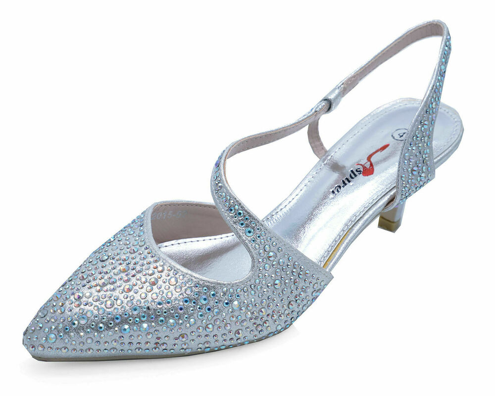 silver wedding shoes silver kitten heel wedding prom bridesmaid diamante 7464