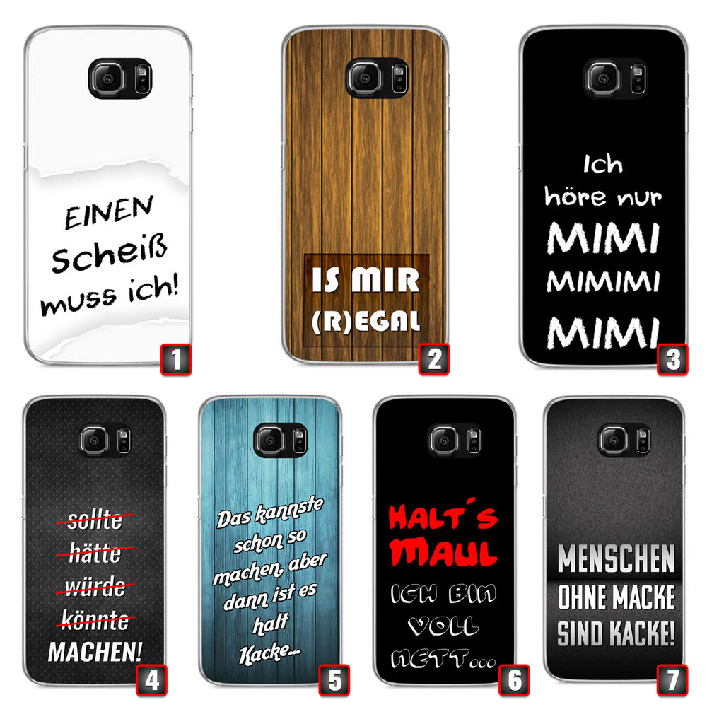 premium handyh lle 39 spr che 39 f r samsung galaxy silikon fun lustig spruch ebay. Black Bedroom Furniture Sets. Home Design Ideas