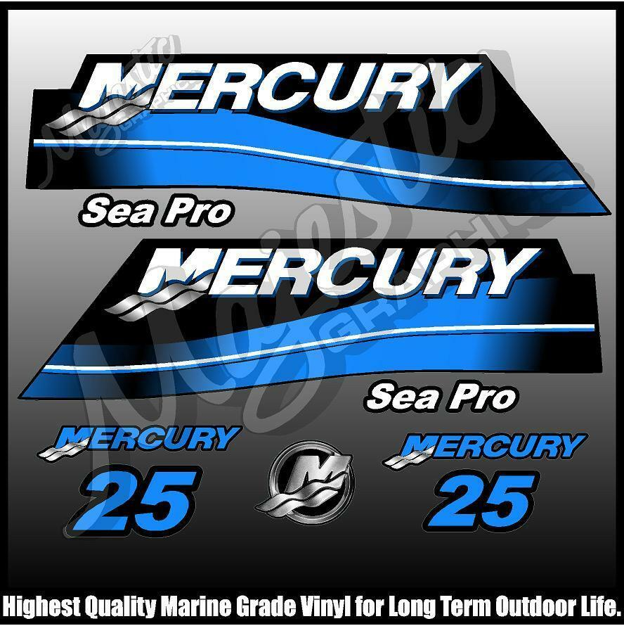 Details about mercury 25hp seapro decal set outboard decals