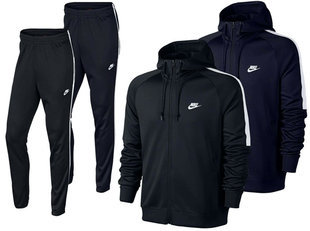 e0a4da92674d Details about Nike Tribute Full Polyester Tracksuit Zip Hoody Jogging  Bottms Joggers