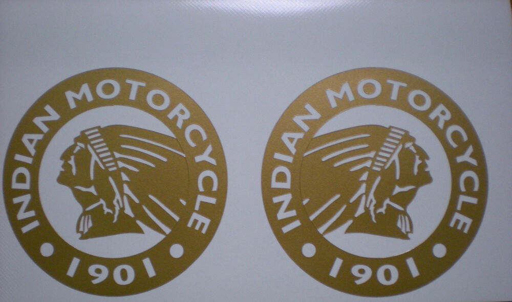 Large Indian Motorcycle Chief Gold Logo Decal Sticker Set Of 2 12