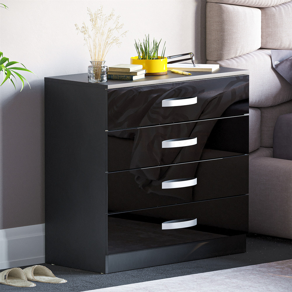 Hulio high gloss chest of drawers black 4 drawer metal - Black chest of drawers for bedroom ...