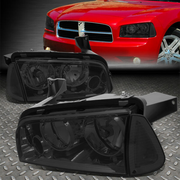 FOR 2006-2010 DODGE CHARGER PAIR SMOKED HOUISNG HEADLIGHT+CLEAR TURN SIGNAL LAMP
