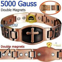 PURE SOLID COPPER MAGNETIC BRACELET ARTHRITIS THERAPY CHRISTIAN JESUS CROSS PC03