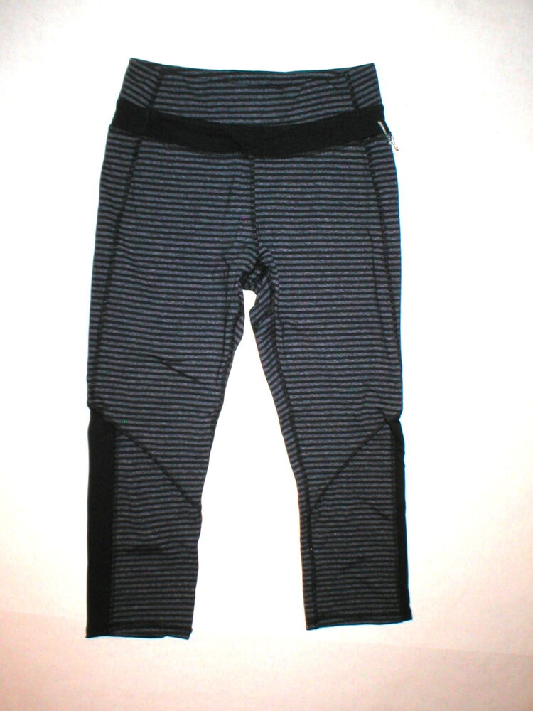 9aefd43c5e Details about Kyodan NWT Womens New Crop Capri Pants Run Yoga Pilates  Stripes XS Gray Black