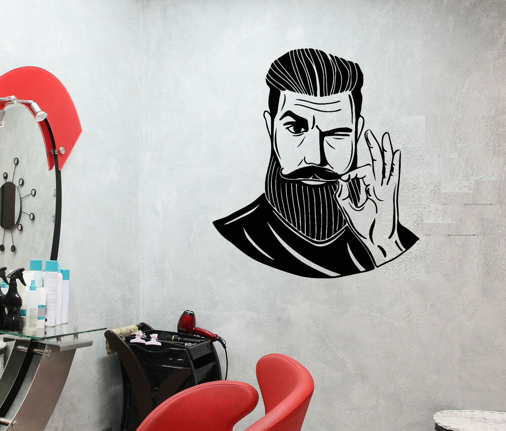 Details about vinyl wall decal bearded man barbershop hairstyle hair salon stickers 2447ig