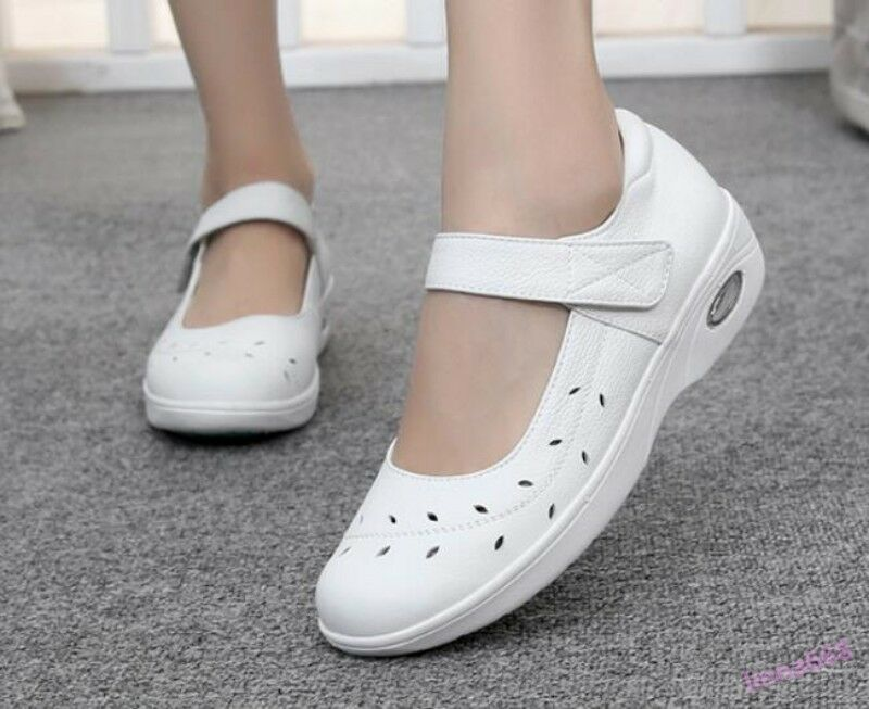 Women's Hospital Nurse Work Wedge Shoes Flats Breathable Occupational White Hot