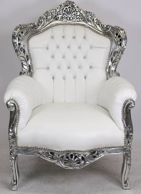 big size barock sessel silber gro er mega thron faux leder wei armchair white ebay. Black Bedroom Furniture Sets. Home Design Ideas