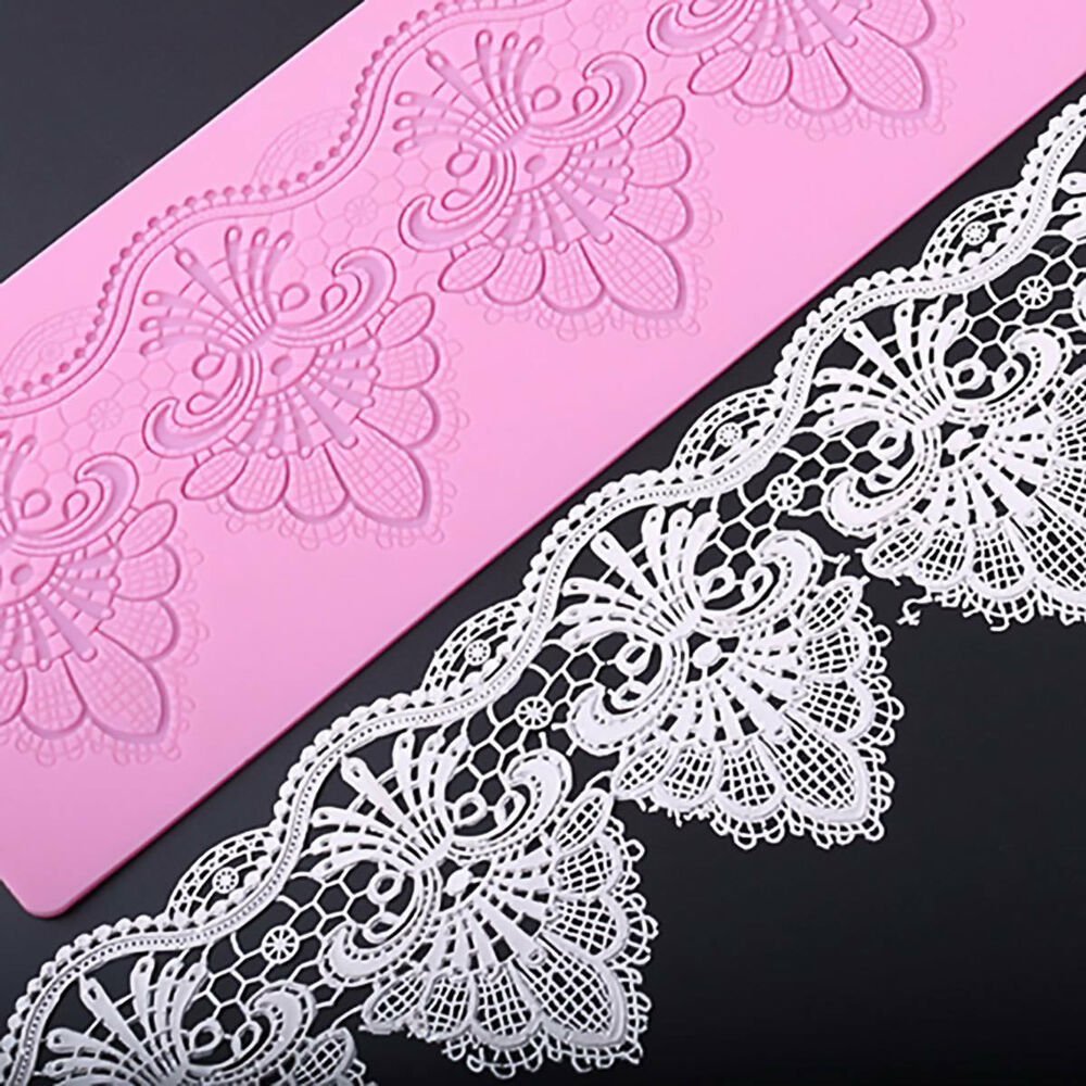 3D Floral Lace Edible Silicone Embossing Mat Wedding Cake Decor Mold ...