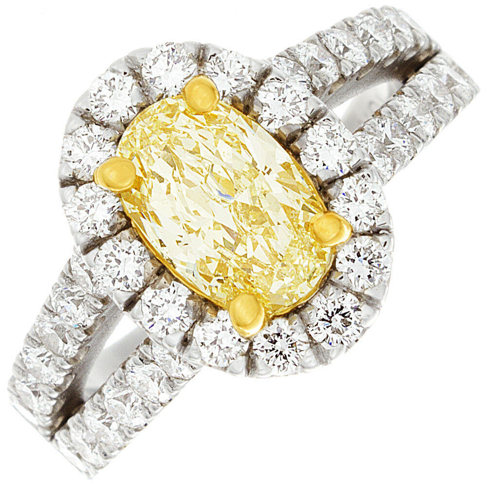 c6cf1fe9262182 Details about 18K WG Halo 2.85 CTW Oval cut Diamond Engagement Ring Fancy  Yellow GIA certified