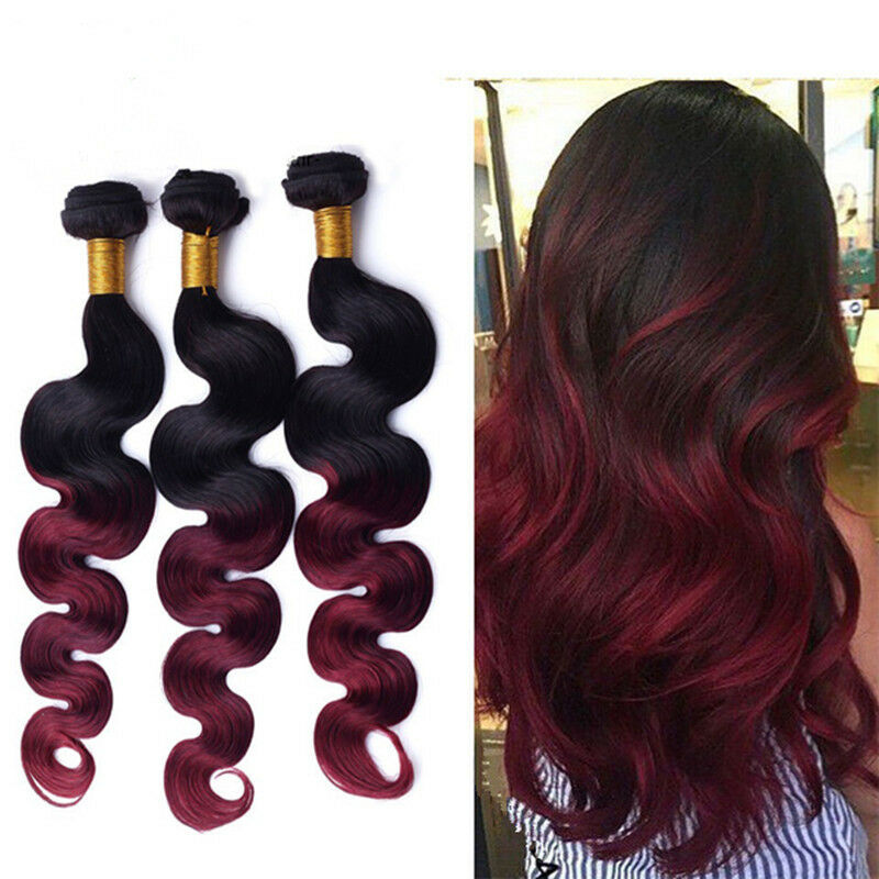 3 Bundles 8a Ombre Burgundy Brazilian Body Wave Virgin Human Hair