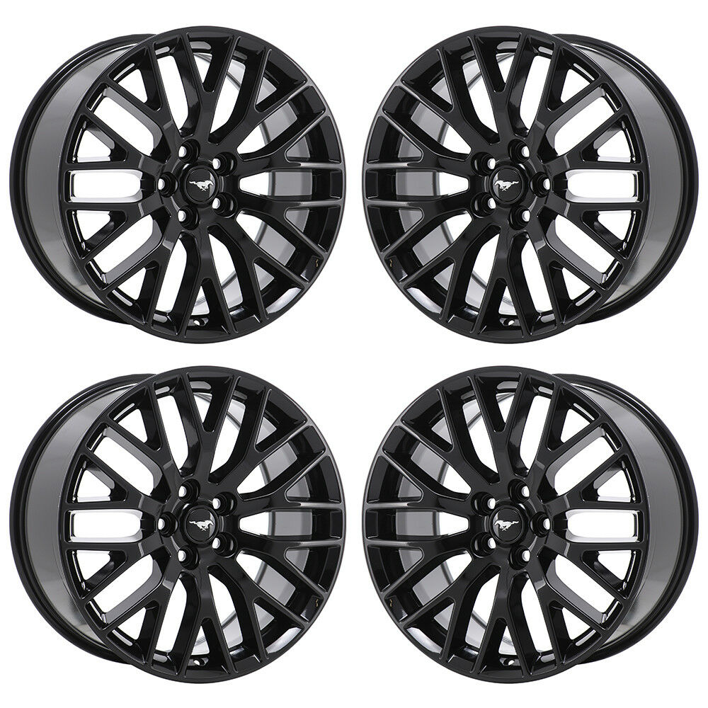 Details about 19 ford mustang gt black wheels rims factory oem 2017 2018 set 4 10036 10038