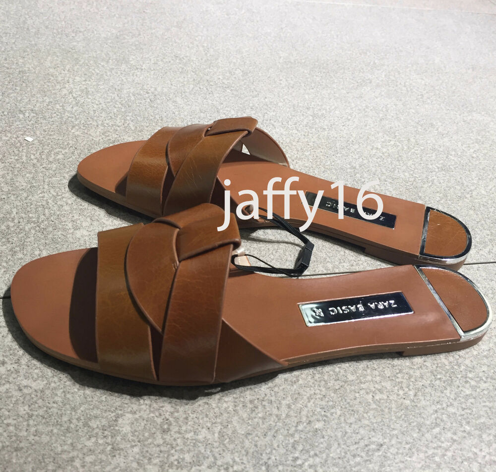 8ac088fe87910 ZARA NEW WOMAN LEATHER CROSSOVER SANDALS FLAT SLIDE BROWN 35-42 REF.  2638 301