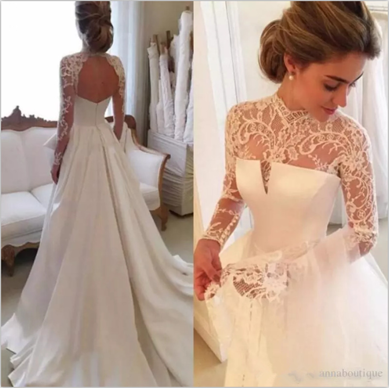940f83027653 Details about Vintage Lace Satin A Line Wedding Dress Long Sleeve High Neck  Custom Bridal Gown