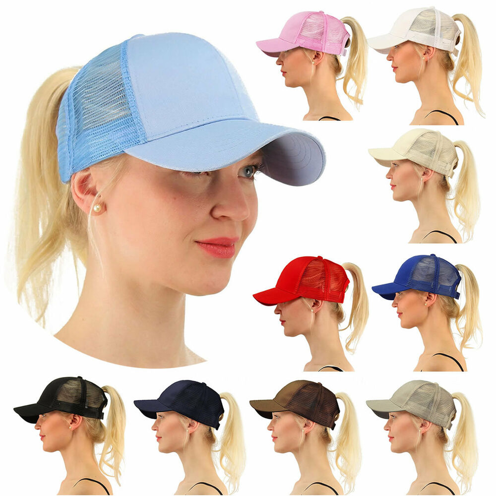 cf9e26d00cd Details about New Women s Ponytail Cap Messy Buns Ponycap Adjustable Mesh Baseball  Hat