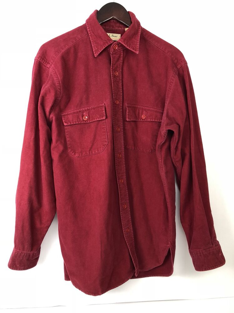 ll bean men chamois flannel long sleeve shirt 100 cotton red sz 16 5 large tall ebay. Black Bedroom Furniture Sets. Home Design Ideas