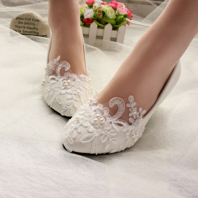 5096b58ed0c Details about white Ivory Lace Pearl Wedding shoes Bridal bridesmades flats  low high heel pump