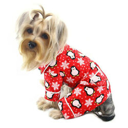 Klippo Dog Clothes Penguins & Snowflake Flannel PJ w/ 2 Pockets RED XS-XL Puppy