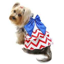Klippo Dog Clothes Red White Blue Large Bow Sundress   XS-XL Puppy Pet