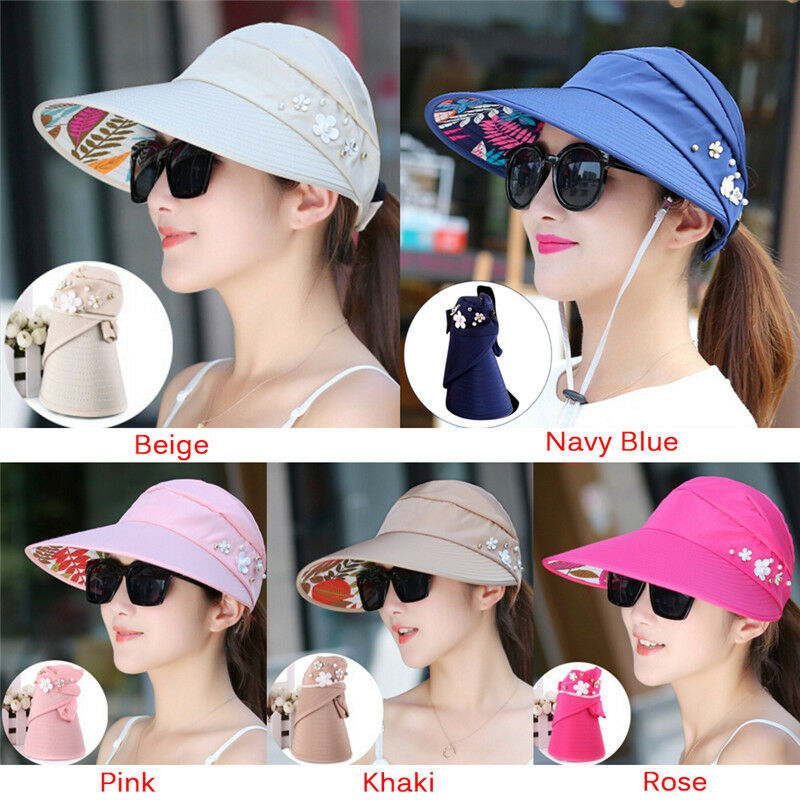 Summer Sun Hats Pearl Packable Sun Visor Hat With Big Heads Wide Brim Beach  Hat  55df36b8c720