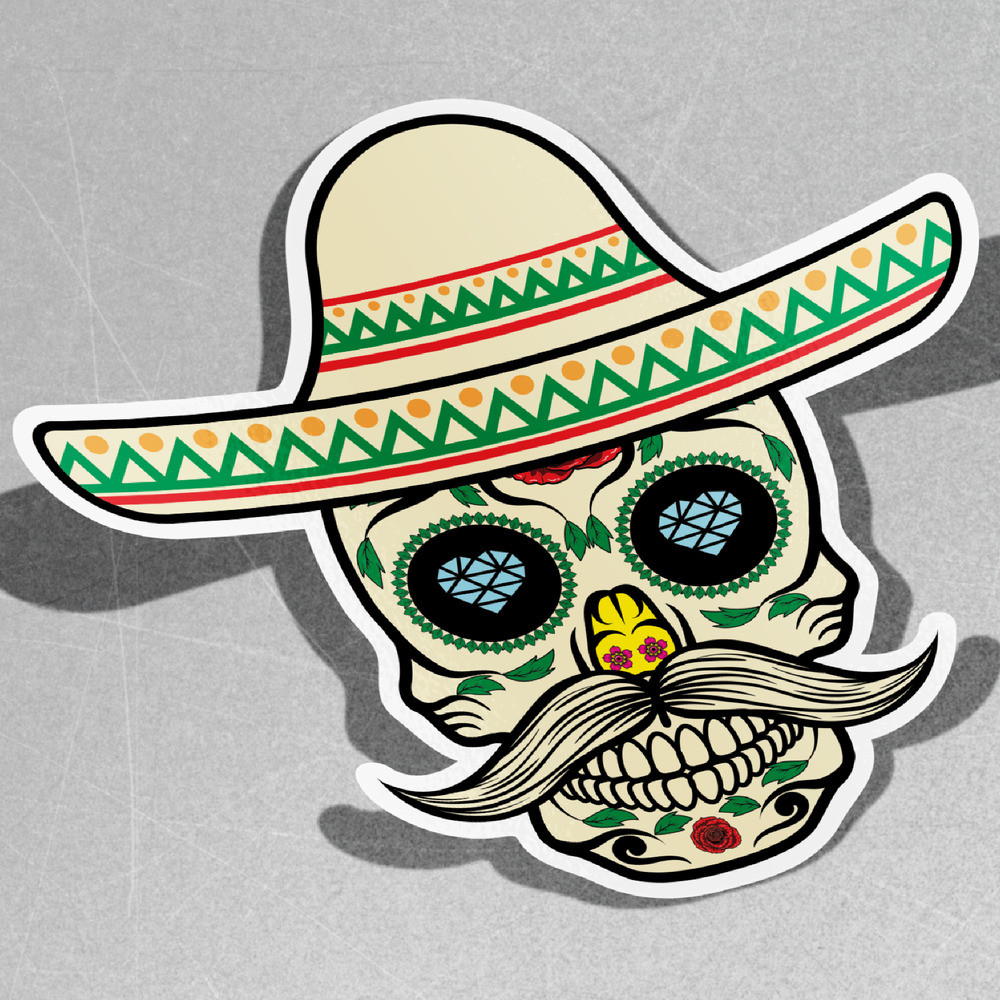 Details about mexican skull with sombrero vinyl sticker decal window car van bike 3084
