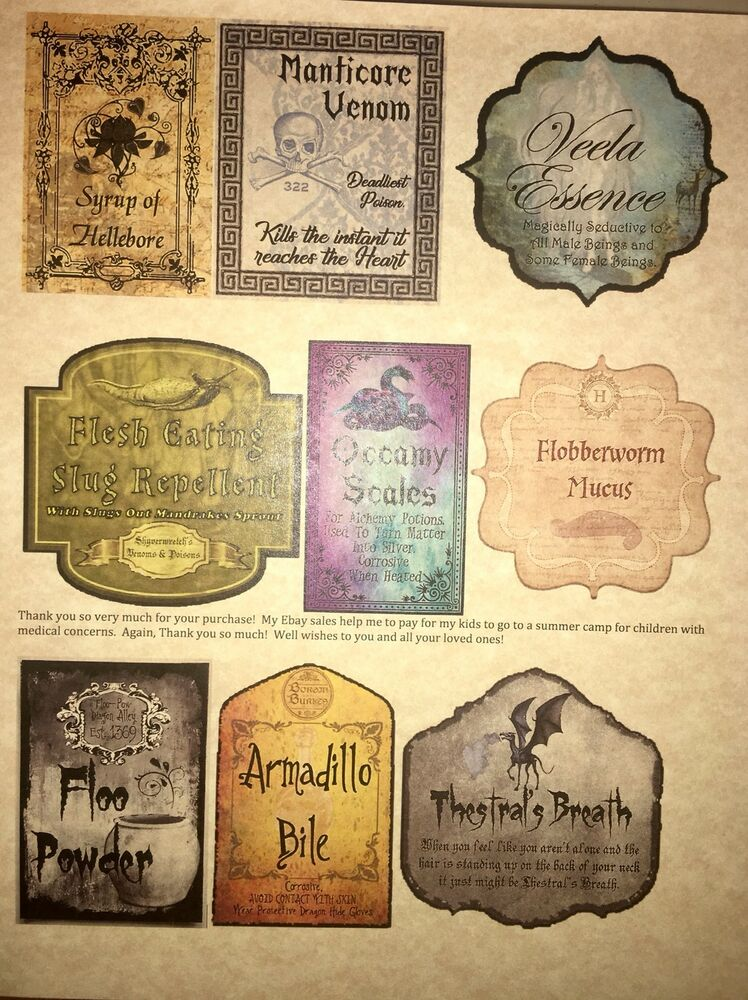 Zany image with regard to printable harry potter potion labels