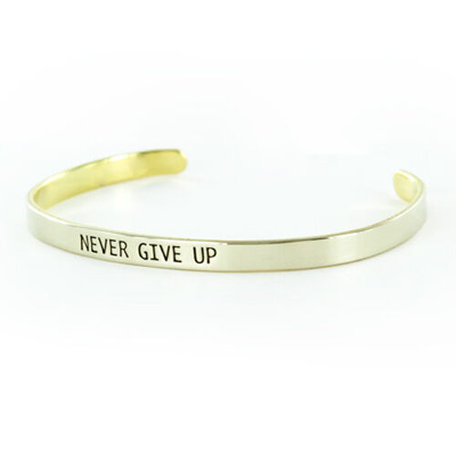 2cd6a86d47a Details about Quote Bracelet Cuff Silver Bangle NEVER GIVE UP Word Jewelry