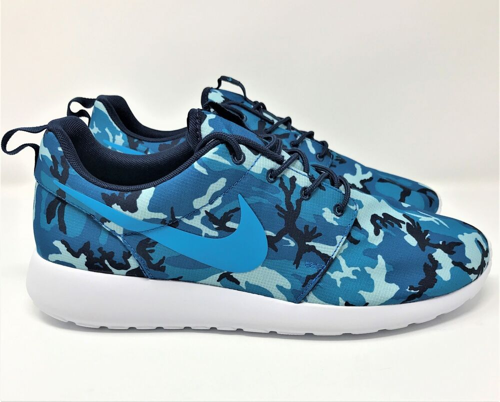 new photos a4d03 d3411 Details about NEW Mens Nike Roshe Run One Print Blue White Camo 655206 441 Running  Shoes 10-12