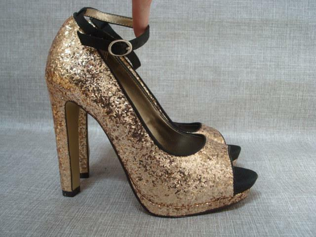 6659be7bdc1f Details about NEXT UK 4 1 2 GOLD GLITTER PEEP TOE