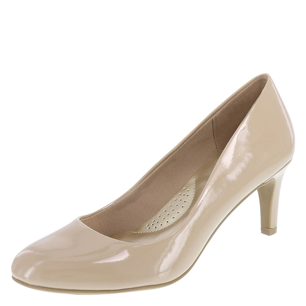 286ae56a188 Details about DexFlex Comfort Nude Patent KARMA ROUND TOE PUMP 2 3 4