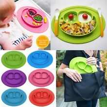 Lovely One-Piece Silicone Mat Baby Kids Suction Table Food Tray Placemat Plate