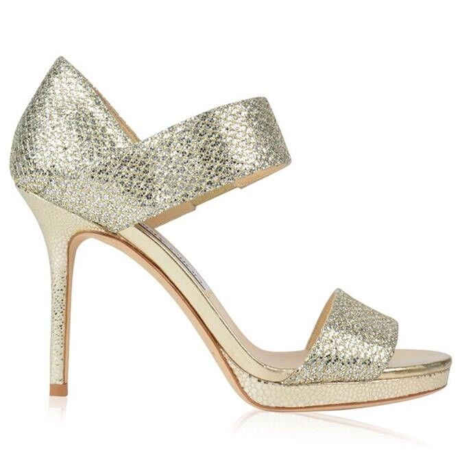 67e1a5f843e1 Details about Jimmy Choo  Alana  Champagne Glitter Heels Sandals Strappy  Shoe Size EU 37 Uk 4