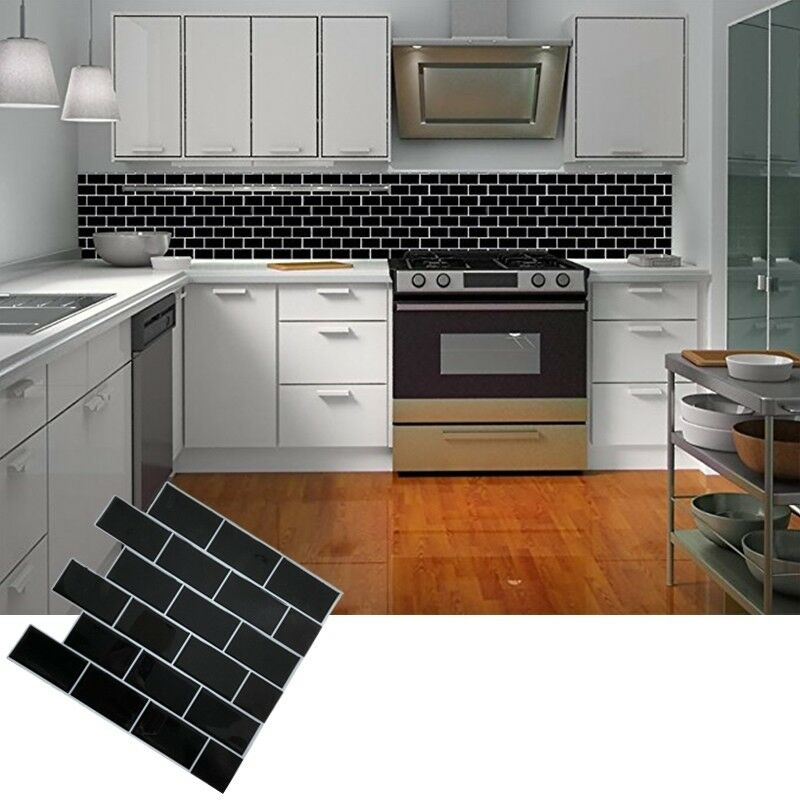 Black Subway Self Adhesive 3D Tile Wall Sticker Kitchen