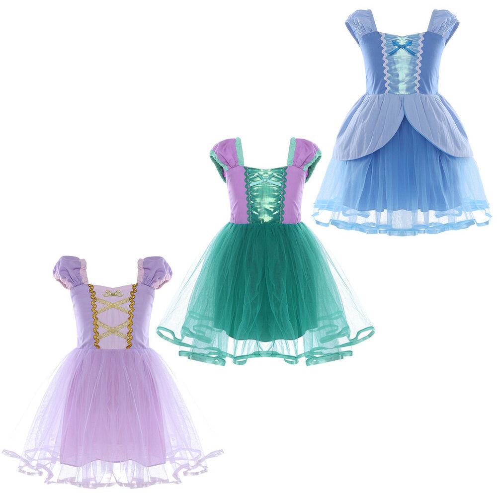 Girls Little Mermaid Princess Dress Up Costumes Halloween Birthday Party Outfits Ebay