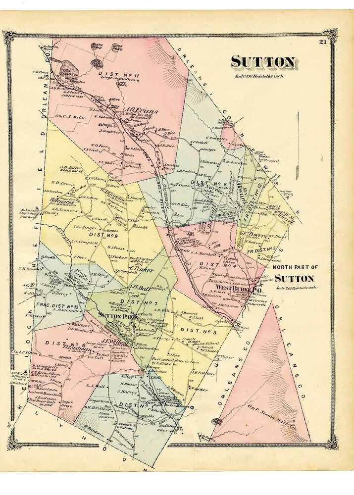 Rare 1875 Map of Sutton, Vermont from Atlas of Caledonia County w ...