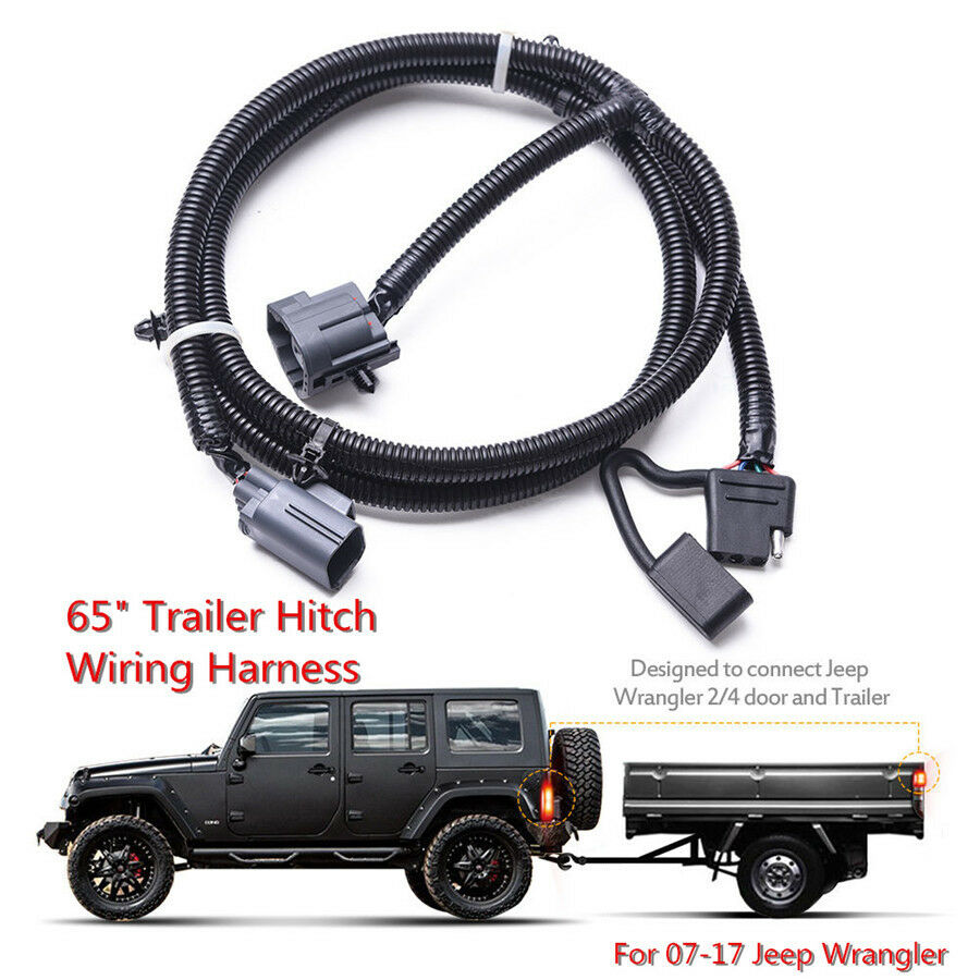 "65"" Trailer Tow Hitch Wiring Harness Kit 4-Way For 07-17 Jeep Wrangler JK  2/4 7540974828475 