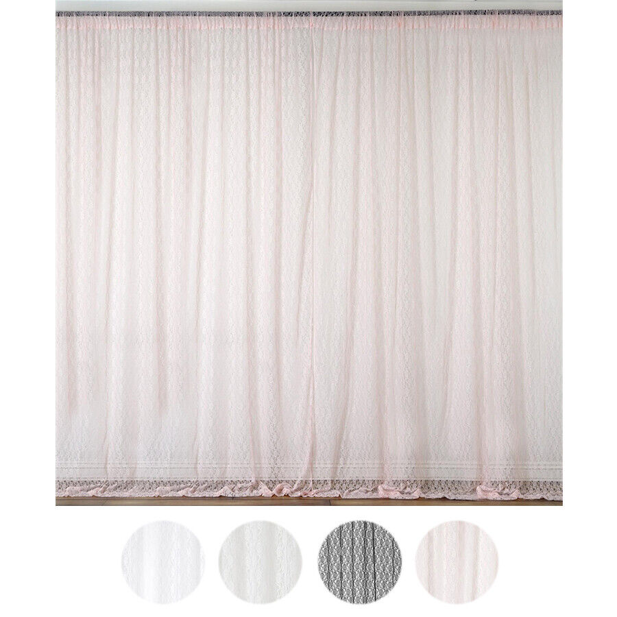 Details About 10 X Ft Sheer Lace Professional BACKDROP CURTAINS Wedding Party Decorations