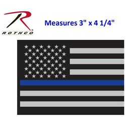 Police Thin Blue Line 4'' Subdued Flag Decal Sticker Support Police Rothco 1293